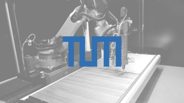 TUM logo with black and white backgroupd picture of AM Flexbot