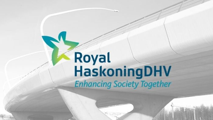 Royal Haskoning logo with black and white background picture of bridge