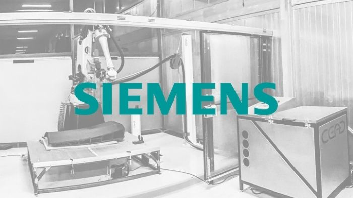 Siemens logo with black and white background picture of AM Flexbot