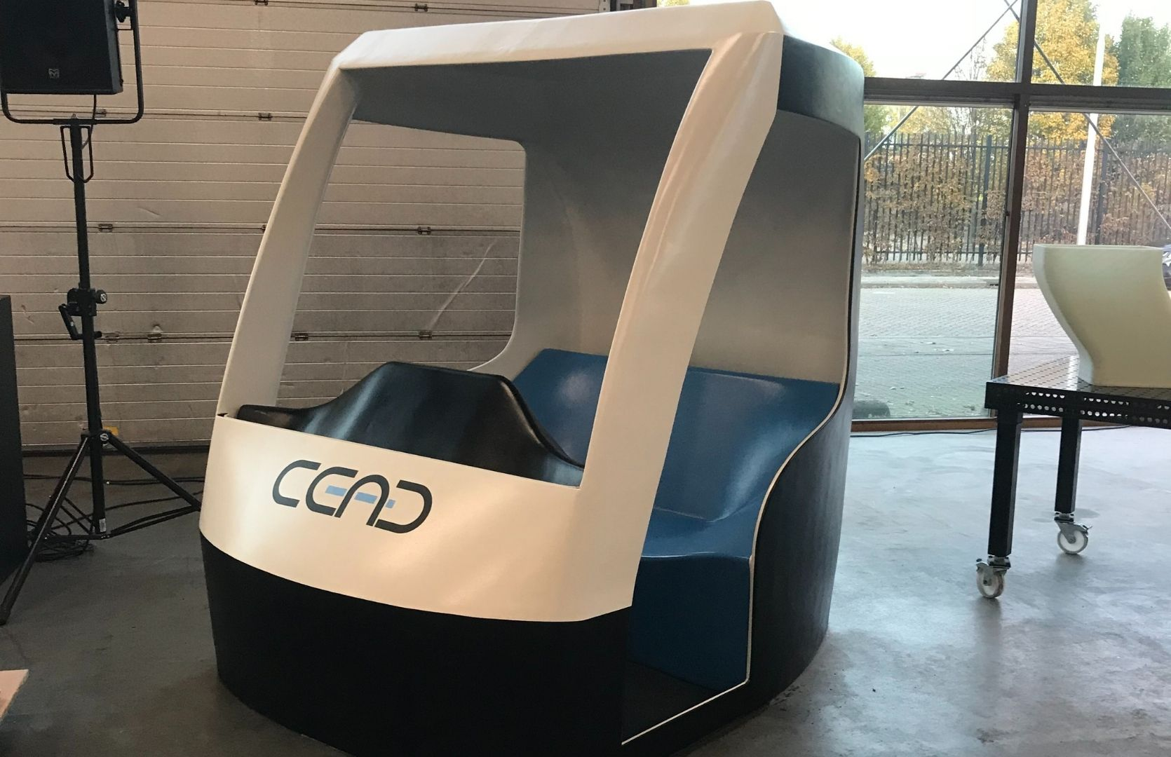3D printed cabin with CEAD color and CEAD logo