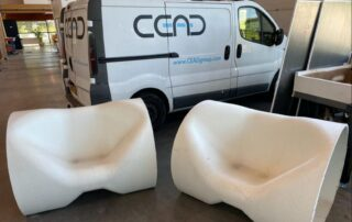 3D printed lounge chair recycled PP glass fibre in front of CEAD van